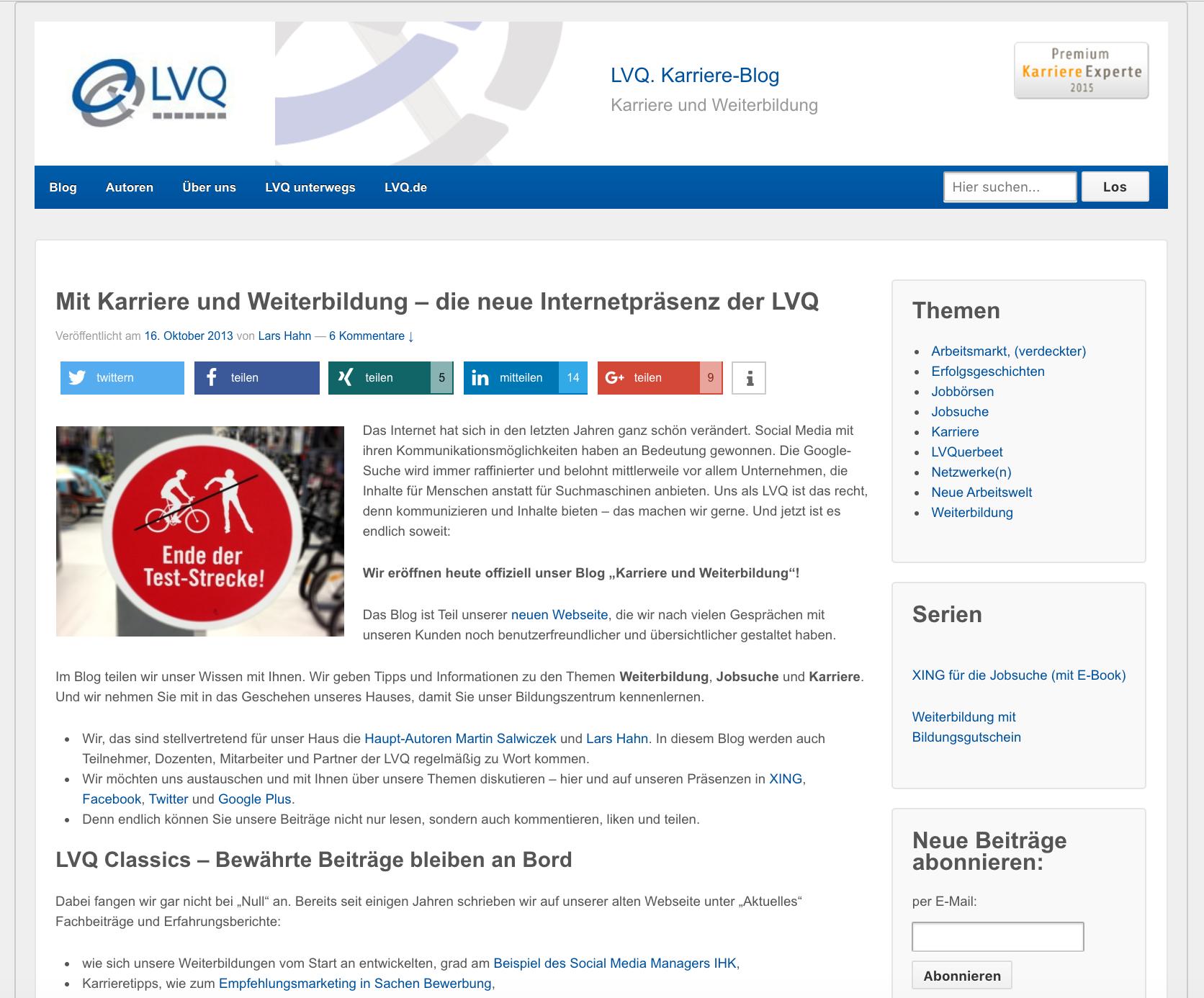 Im Jahr 2013 ging das LVQ Blog an den Start